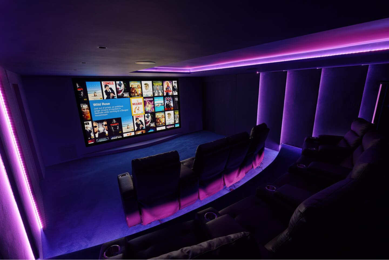 Cinema room floor, wall and ceiling lighting