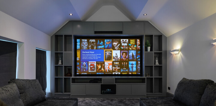 media room - blinds